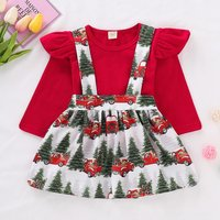 Christmas Ruffle Top and Suspender Skirt Set