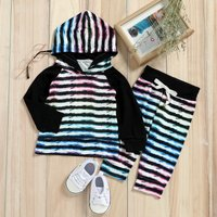 Colorful Striped Top and Pants Set