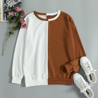 Fashionable Contrast Long Sleeves Pullover