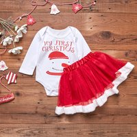 (Only 2 Left for 3-6M)First Christmas Snowman Romper and Tulle Skirt Set