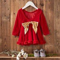 Ruffle Velvet Dress with Bow