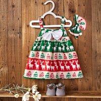 Baby Girl's Adorable Christmas Deer Printed Sleeveless Dress