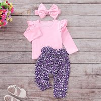 Ruffle Shoulder Purple Floral Long Sleeve Set