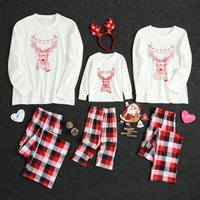 Comfy Glasses Reindeer Long Sleeves Top and Plaid Pants Lounge Set for Family Matching