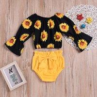Sunflower Print Bowknot Shorts Set