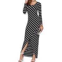 Fashionable Striped Splice Long Sleeves Slit Dress