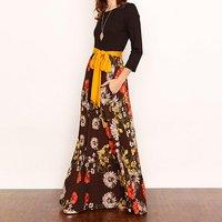 Cozy Flower Print Long Sleeves Splice Long Dress with Tie
