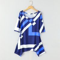Stylish Blocks Print  Irregular Hem Long Sleeves Top