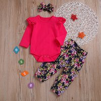 Ruffled Red Romper Floral Pants and Headband Set