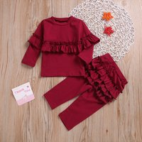 2-piece Ruffle Top and Pants Set in Crimson