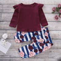 Crimson Ruffle Top and Floral Striped Pants Set