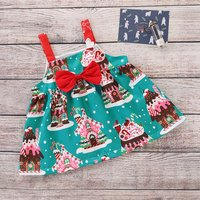 Christmas House Pattern Dress with Bow