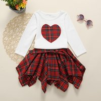 Two-piece Fashionable Lattice Dress and Heart Print Top