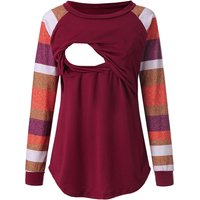 Colorful Stripe Maternity Long-sleeve Top
