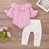 2-piece Ruffle Striped Romper and Ripped Pants Set