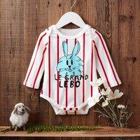 Baby Striped Rabbit Romper