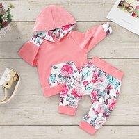 Front Pocket Floral Hoodie and Pants Set