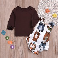 Baby Solid Top and Backless Bear Romper Set