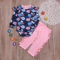 Baby Rose Print Romper and Ruffle Pants Set