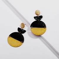 Pretty Color Blocked Wafer Shaped Earrings