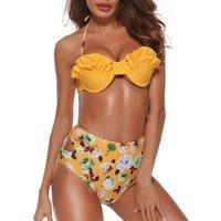 Stylish Flowers Print Shell Bikini Set