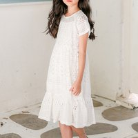 Fashionable Hollow Out Solid Lace Dress