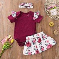 Ruffle Crimson Romper Floral Skirt and Headband Set