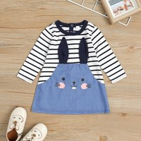 Rabbit Design Striped Dress for Baby and Toddler Girl