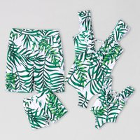 Green Leaf Family Swimsuits