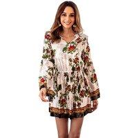 Chic Flower V-neck Boho Dress