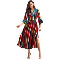 Chic Rainbow Slit Dress