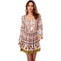 Chic Floral Drawstring Tribal Dress