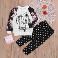 Letter Top and Printed Pants Set