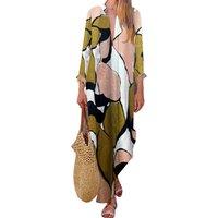 Stylish Contrast V-neck Slit  Tribal Dress