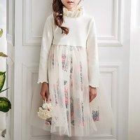 Beautiful Floral Long-sleeve Dress