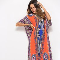 Pattern Print Loose V Neck Maxi Dress