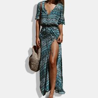 Button Pattern Print Tie Maxi Dress