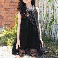 Elegant Beaded Sleeveless Dress in Black