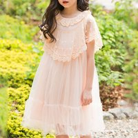 Pretty Solid Lace Collar Dress in Pink