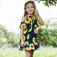 Sunflower A-Collar Falbala Girl's Dress