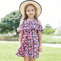 Sweet Pink Floral Ruffled Girl's Dress