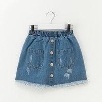 Sassy Tasseled Pocket Design Denim Skirt