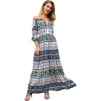 Boho Pattern Off Shoulder Maxi Dress