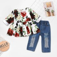 Rose Printed Top and Ripped Jeans Set