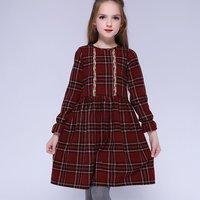 Fashionable Plaid Long-sleeve Dress in Crimson