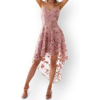 Flower Embroidered Strap Lace Dress