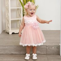 Baby Girl's 3D Floral Printed Lace Dress