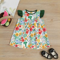Floral Pattern Ruffle-sleeve Dress for Baby and Toddler Girl
