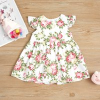 Floral Print Flounce-sleeve Dress for Baby and Toddler Girls