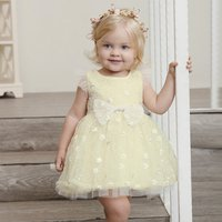 Multilayers Mesh 3D Bownot Printed Girls Party Dress